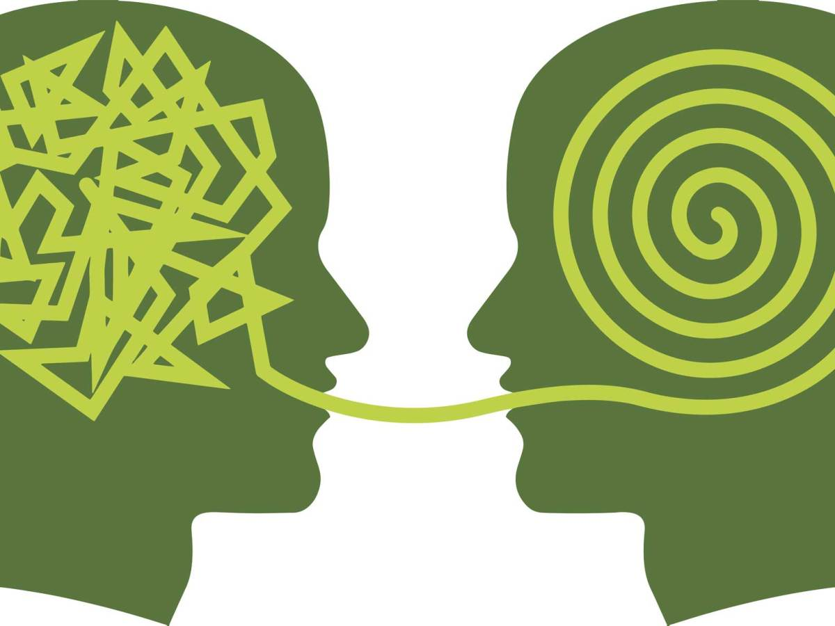 Graphic drawing of two green heads speaking to each other. The first head has a knot of tangled ideas in their head and the second has a swirl of ideas in their head.