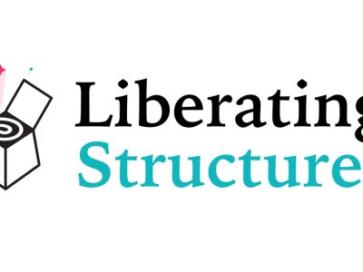 Liberating Structures logo, a small box with colorful stars emerging out of it