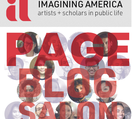 Graphic Image of Imagining America logo and text; PAGE Blog salon geraphic and text