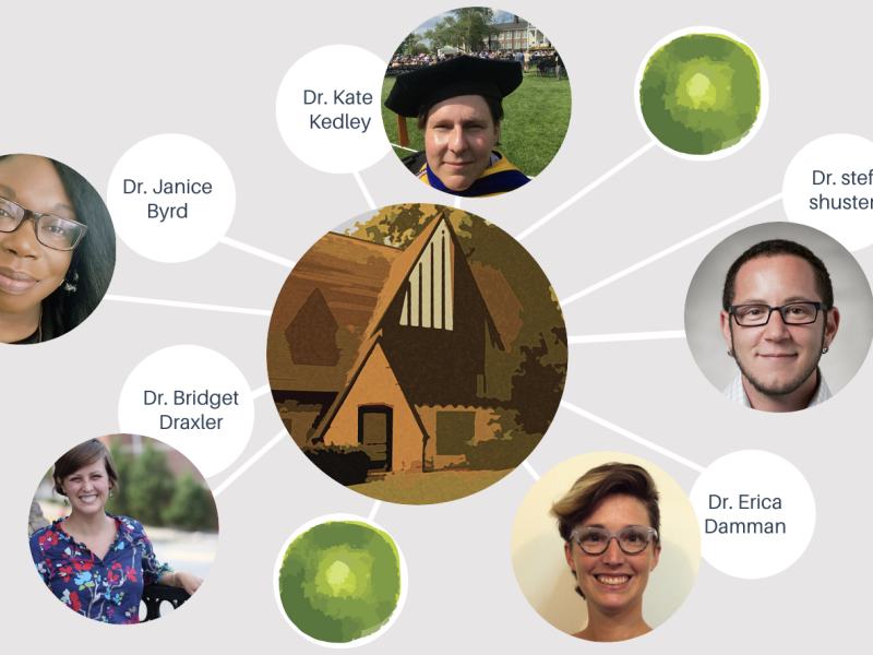Graphic depiction of a network with the Obermann Center building at the middle and headshots of Dr. Kate Kedley, Dr. stef shuster, Dr. Erica Damman, Dr. Bridget Draxler, and Dr. Janice Byrd as nodes.