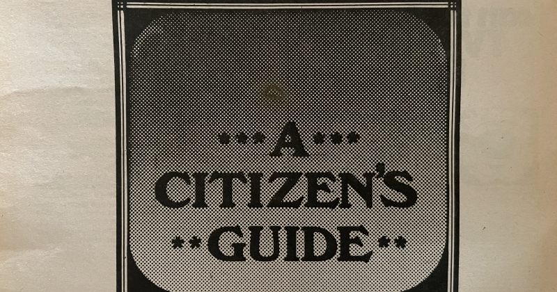"""Photograph of a black-and-white mailer with the text """"Cable TV: A Citizen's Guide"""" and a drawn illustation of a TV box"""
