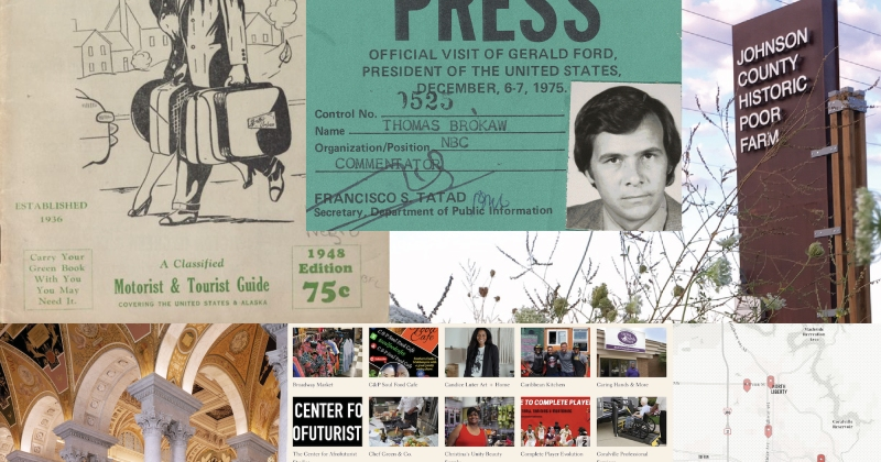 A collage of photos and archival images about the HPG internships